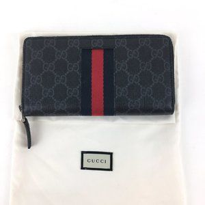 Gucci 408831 GG Supreme Web Zip Around Wallet